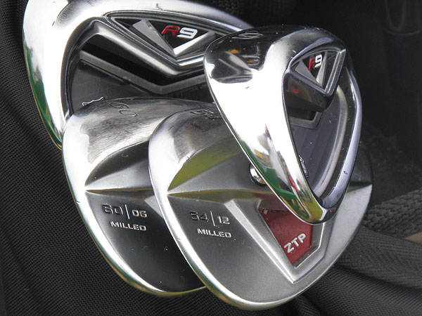 plays TaylorMade's R9 TP irons and TP wedges with xFT. He changes the wedge face plates regularly to make sure his grooves are sharp.