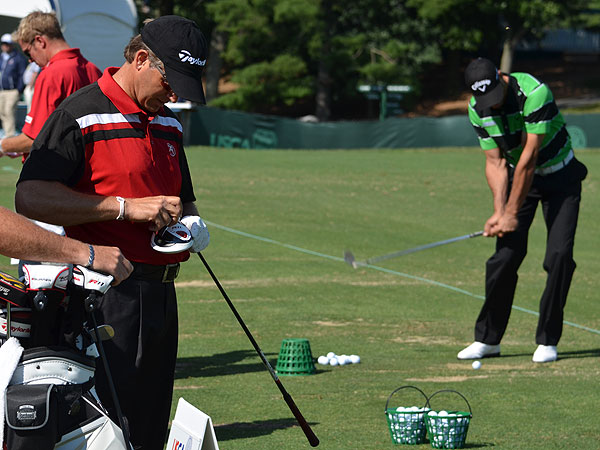 Retief Goosen and Alvaro Quiros were among the first two players on the range Monday. As Quiros warmed up with wedge shots, Goosen, a two-time U.S. Open winner, adjusted the settings on his TaylorMade R11 driver.
