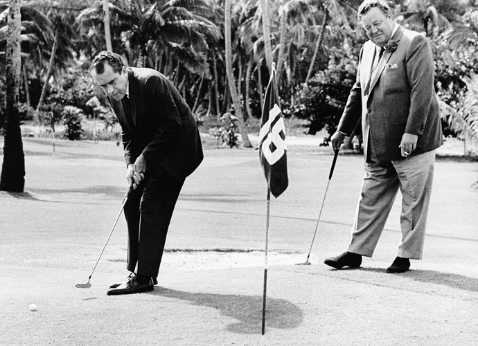 Richard Nixon took up the game as a way to spend time with Dwight Eisenhower during his time as Ike's vice president. He played less as president, though reports peg him as low as a 12 handicapper. He played more often after resigning the Presidency in 1974. Friends built a three-hole course at his home in San Clemente, Calif.