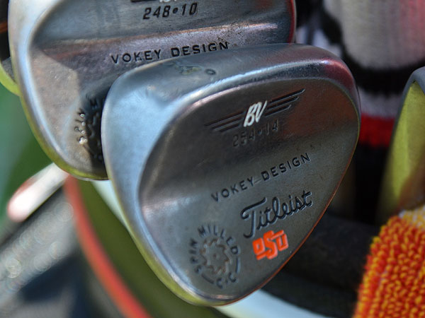 Rickie Fowler Titleist Vokey Design Spin Milled wedges are all stamped with an Oklahoma State logo.