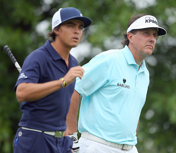 Mickelson played alongside Rickie Fowler in the first round.