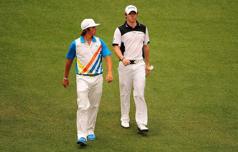 Rory McIlroy and Rickie Fowler burst onto the golf scene with brash looks that matched their go-for-it games. McIlroy, sponsored by Oakley, and Fowler, outfitted by Puma, both went for edgy, graphic golf clothes at the Masters.