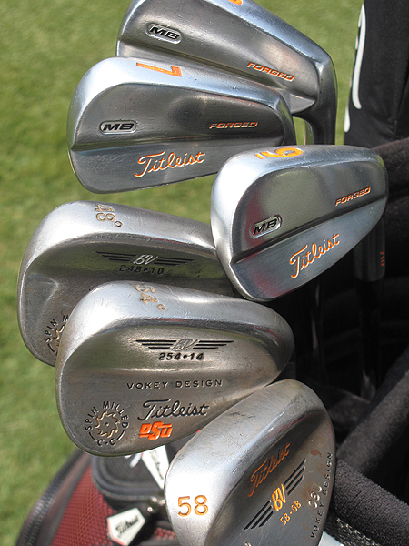 Rickie Fowler played his college golf at Oklahoma Sates and uses Titleist 710 MB irons with orange paint fill to show support for his beloved Cowboys.