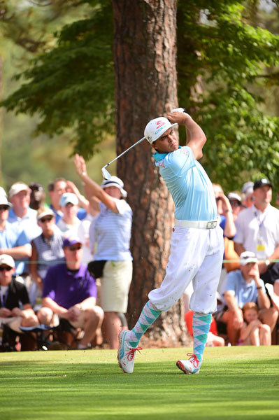 """Rickie Fowler paid tribute to the late Payne Stewart with his plus fours in the first round. Fowler shot an even-par 70. """"He was definitely someone I looked up to and one of my favorite players,"""" Fowler said. """"I never had a chance of meeting him, but obviously loved watching him play and loved how he handled himself on and off the golf course."""""""
