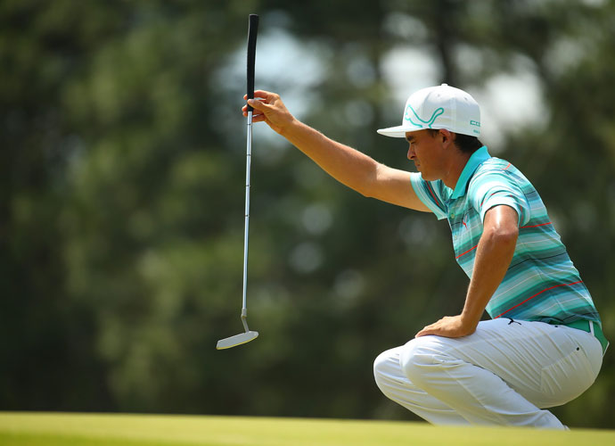 """Rickie Fowler shot 67, tied for the day's best round with Erik Compton. He'll enter the fourth round tied for second at -3 and will play in the final group. """"Today played significantly harder than the first two days,"""" he said."""