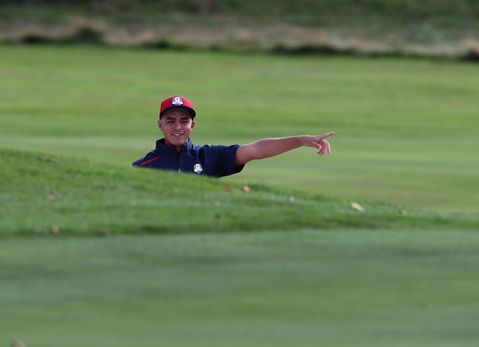 Rickie Fowler found time for a practice round Monday at Gleneagles.