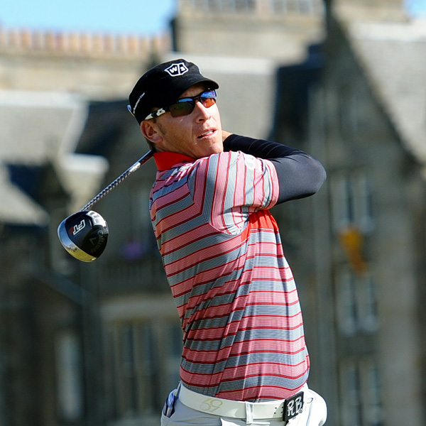 Ricky Barnes is another Oakley-sponsored, California-type guy. Hefavors striped, zipped golf shirts, compression jerseys and hip belt buckles, but he made his fashion mark forever with his military, Castro-style golf hats.