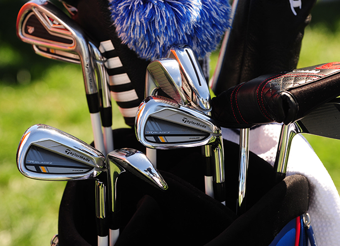 Robert Garrigus' R9 3-iron sticks out within his set of Taylor Made RocketBladz irons.Robert Garrigus' R9 3-iron sticks out within his set of TaylorMade RocketBladez irons.