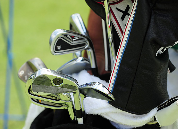 Robert Garrigus has three different types of TaylorMade irons in his bag.