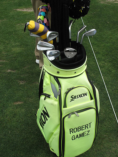 Robert Gomez also plays Cleveland CG1 Tour irons, but his choice of golf bags is a little more ... assertive.
