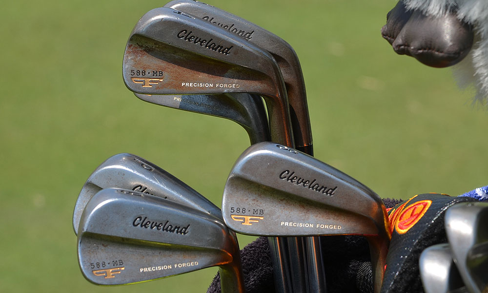 Aussie Rod Pampling uses a rusty, raw steel set of Cleveland Forged 588 MB irons.