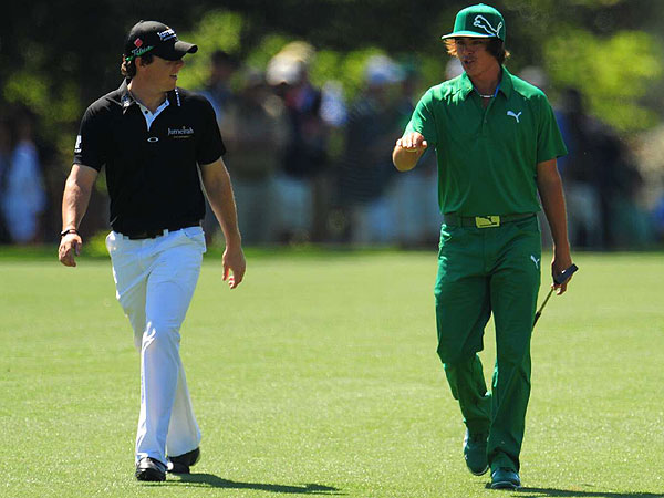 , who is dressed by Oakley,                           and Rickie Fowler, who wears Puma,                           looked exactly as you would expect while attacking Augusta Friday.                           Young and brash. Graphically snappy. Like kids having a good time out                           there. Then reality set in.
