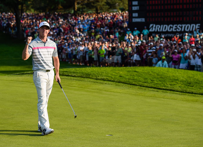 Rory McIlroy shot a 4-under 66 at Firestone Country Club on Sunday, rallying from three shots back to defeat Sergio Garcia by two shots at the WGC-Bridgestone Invitational.