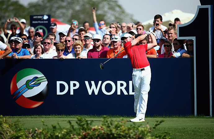 Rory McIlroy fired a six-under 66 in the first round to take a share of the lead at the DP World Tour Championship in Dubai.
