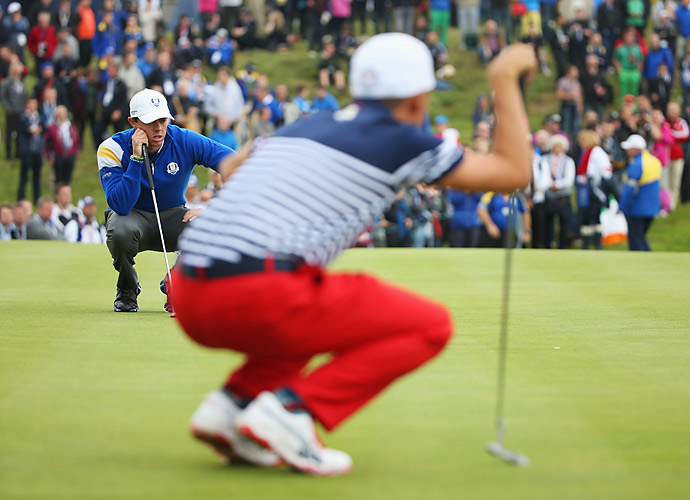 Rory McIlroy dispatched Rickie Fowler 5 and 4 to earn the first point of the day for the Europeans.