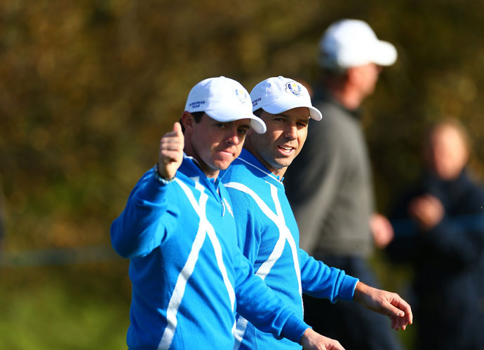 Rory McIlroy and Sergio Garcia were 1 up with three holes to go in their morning four-ball match against Phil Mickelson and Keegan Bradley. But Bradley eagled the 16th hole and Mickelson birdied the 18th to win the match.