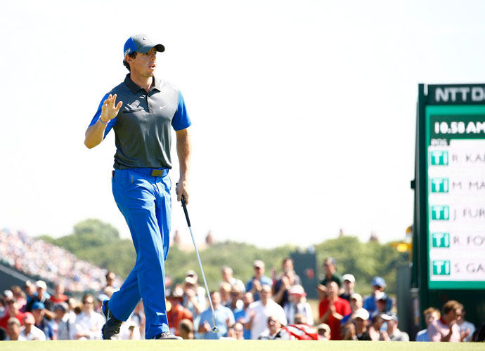 Rory McIlroy shot a near-flawless 6-under 66 in the opening round at Royal Liverpool to take the lead by a shot over Matteo Manassero. He carded six birdies and no bogies on the 7,312 yard course.