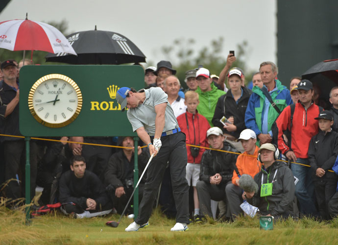 SATURDAY                             Rory McIlroy continued his dominant run through Royal Liverpool on Saturday, firing a third-round 4-under 68 to move to 16 under and extend his Open Championship lead to six shots.