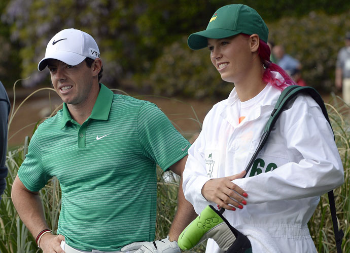 Rory McIlroy had fiance Caroline Wozniacki toting his bag during the Par 3 Contest.