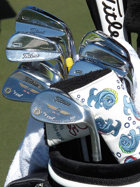 who uses Titleist's MB irons, was given his splashy putter headcover at the 2009 PGA Championship by Scotty Cameron.