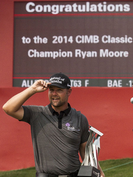 Moore is the first player to successfully defend a title on the PGA Tour since Tiger Woods at the Arnold Palmer Invitation in 2013.