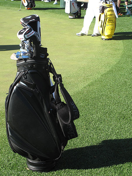 Jose Maria Olazabal will captain the European Ryder Cup team in 2012. His golf bag, in the foreground, is slightly more discreet than Love's.