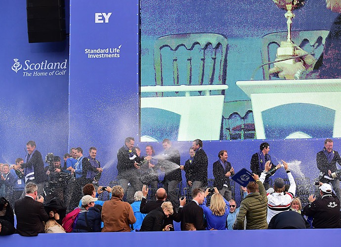 The players quickly took to dousing each other with champagne.