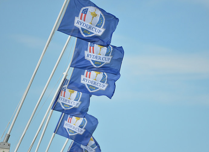Ryder Cup flags dot the landscape at Gleneagles.