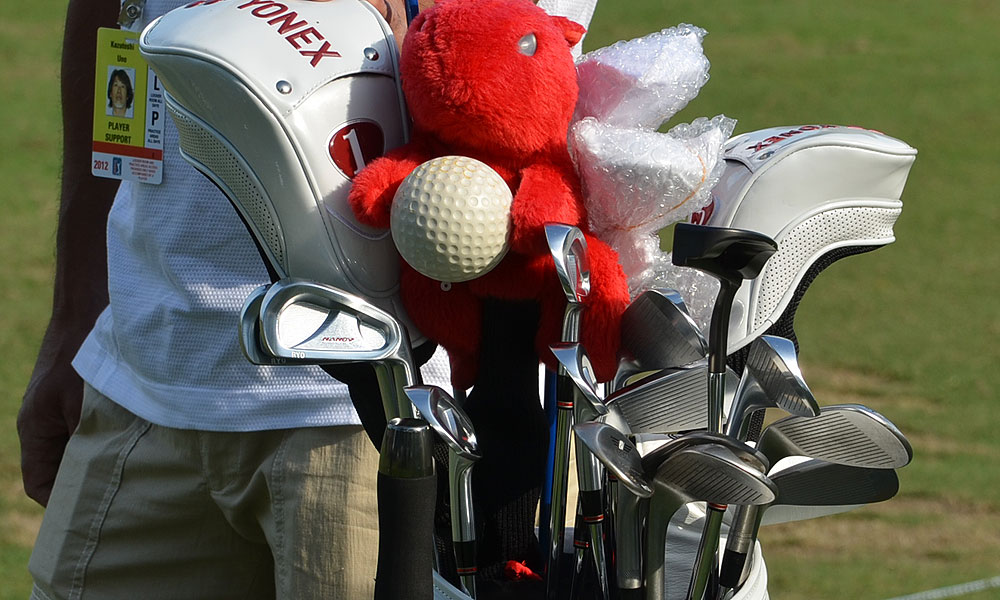 Ryo Ishikawa has a red squirrel looking over his Yonex NanoV Nextage irons.