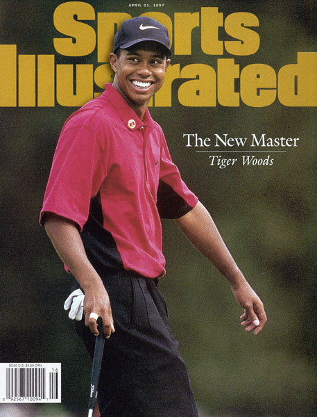 Tiger Woods, 1997 Masters: 12 shots                       Woods burst onto the scene when he won the 1997 Masters by 12 shots over Tom Kite with an 18-under total. Both the margin of victory and total score are Masters records. Read More...