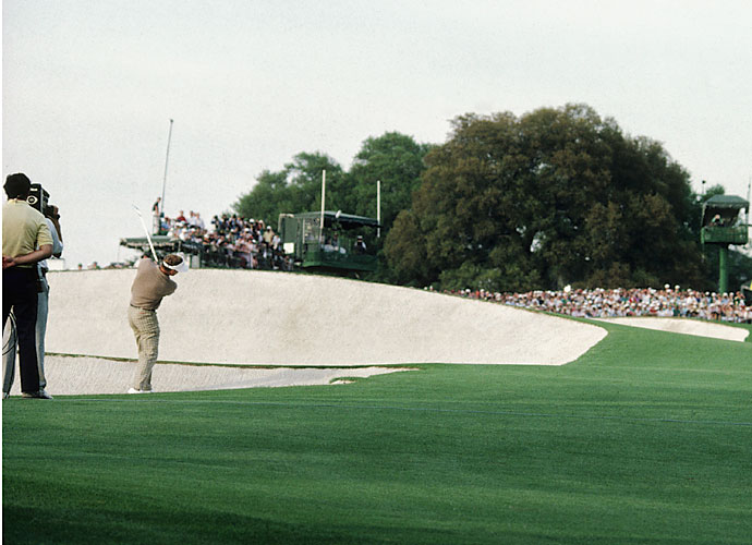 Sandy Lyle - 1988                                     Sandy Lyle's path to the green jacket was secured with a masterful fairway bunker shot on the 18th hole Sunday. His 7-iron approach caught the slope behind the hole and trickled to within 10 feet. He rolled in the putt to make birdie and finish a stroke ahead of Mark Calcavecchia.
