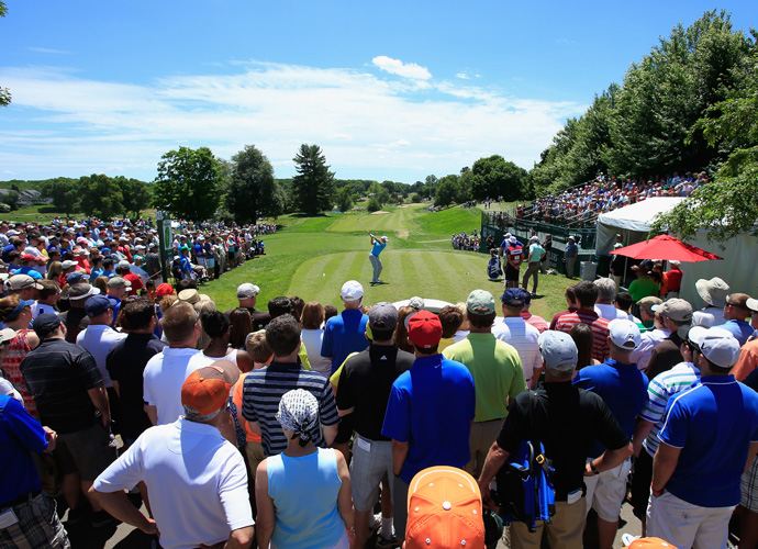 Garcia tees off on the first hole at TPC River Highlands.