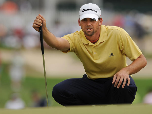 Sergio Garcia made par on the only hole he completed Saturday.
