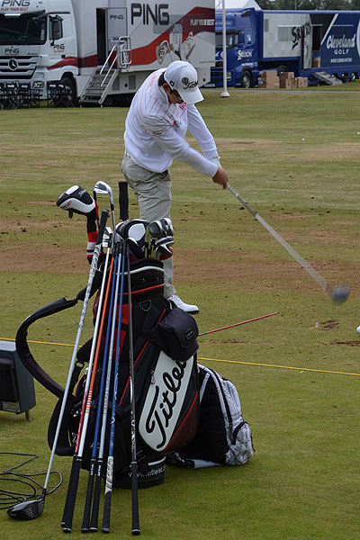 Seung-yul Noh prepared for the Open by doing some driver shaft testing. The 20-year-old South Korean uses a Titleist 910D3 and has a ball speed of 178 m.p.h.
