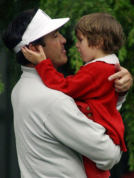 At the 2000 Masters, Ballesteros enjoyed a moment away from the action with Carmen, his 5-year-old daughter. He also has two sons, Baldomero and Miguel.