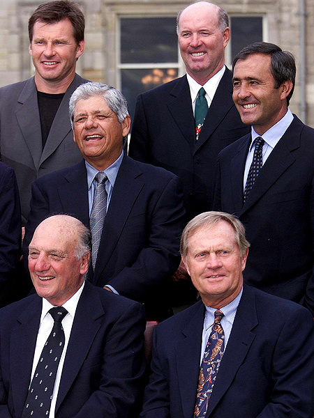 The company of champions: Ballesteros with fellow legends at the Old Course before the 2000 Open Championship.