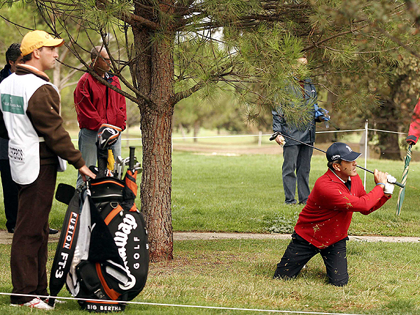 A familiar position for Seve, the greatest trouble-shot executioner in the history of the game.Seve, the greatest trouble-shot executioner in the history of the game, found himself in a familiar position during the first round of the Madrid Open.