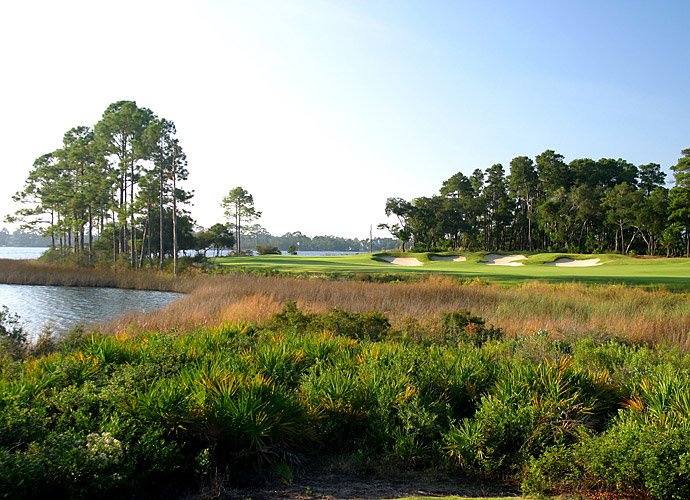 12. Shark's Tooth in Lake Powell, Fla.: Unlike most Florida courses, you won't have to clear too many lakes, bunkers or wetlands at this Panama City Beach-area semi-private spread, which aligns with Norman's belief in minimizing forced carries where possible. You also won't face any rough -- but you better hit it straight, because dense foliage and water await most hooks and slices. Especially noteworthy is how the firm, fast-running fairways melt right into the low-profile greens.