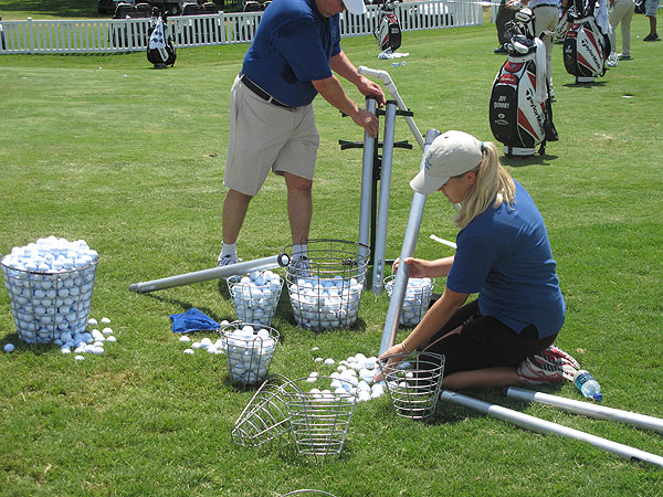 The practice balls players leave behind in the short game area and the balls collected on the range are sorted by hand.