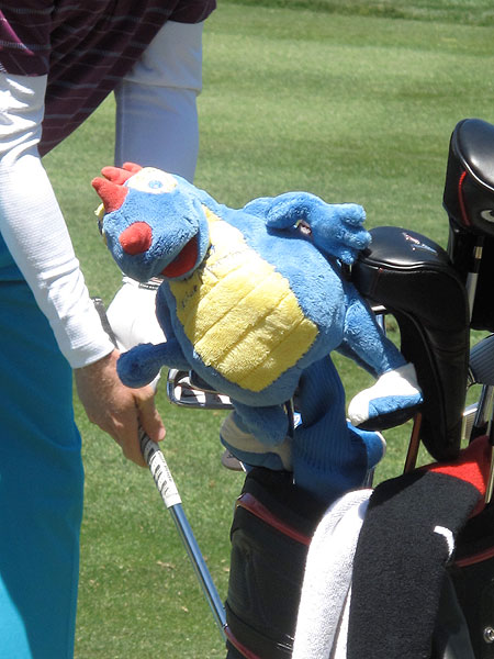 Nike driver is guarded by a Blue Monster headcover that he picked up at Doral.
