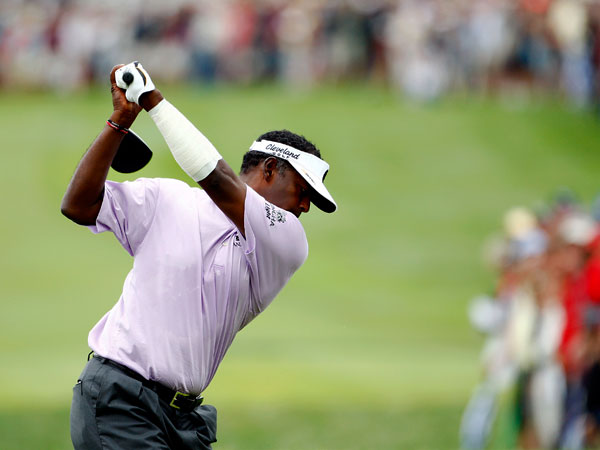 Vijay Singh, who won the Barclays and the Deutsche Bank, was even par at the end of the day, five shots off the lead.