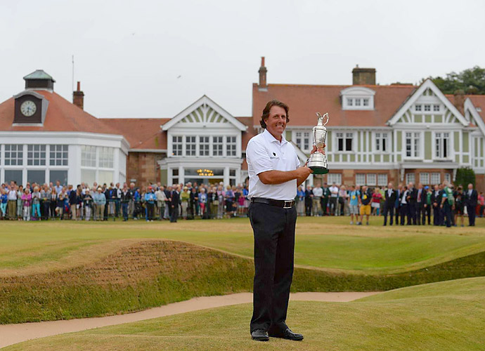 BEST PHIL MICKELSON IMPRESSION                       Then the adrenaline-loving Phil ushered Sir Philip aside and reclaimed center stage. Lefty courted disaster, but he pulled off some high-risk shots -- like his bunker-flirting approach on No. 18 -- to finish birdie-birdie and secure his fifth major win.