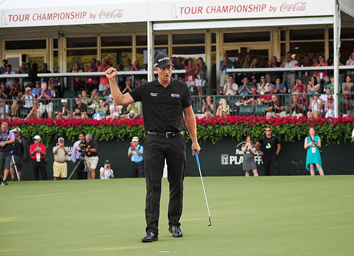 November 2013: Prize money in golf is down. So are corporate sponsorships. But there's still money to be made. Riding a hot-streak through the fall playoff series, Henrik Stenson wins the Chuck E. Cheese Cup and the Race to Duluth, a victory that comes with free FedEx shipping of the winner's trophy to his home.
