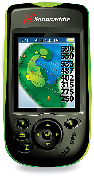 Sonocaddie V300                           $349; sonocaddie.com                           The Upside: A cool edit function lets you                           update the course map, correcting errors or                           adding missing features, on the spot. The nifty                           distance calculator measures individual shots                           in 3-D. The V300 holds up to                           30 courses; you can                           download all of                           them for free.                                                      Something else                           you should                           know: Like other                           satellite mapping                           systems, the                           Sonocaddie                           should work                           in less-than ideal                           weather                           conditions. The                           unit is waterproof,                           but treat it like a                           cell phone (i.e.,                           don't leave it out                           in heavy rain).