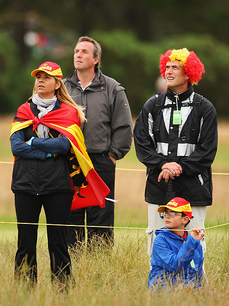 The Spanish fans were easy to spot at Carnoustie on Friday.