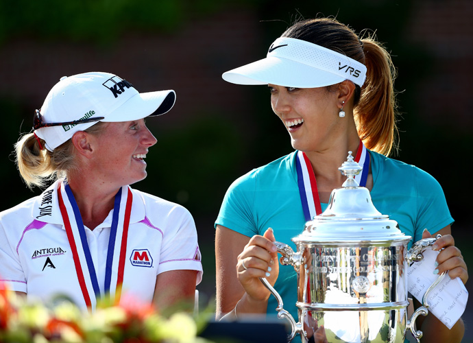 "World No. 1 Stacy Lewis made eight birdies en route to a 4-under 66 on Sunday, pulling to within a shot of Wie on the back nine. ""I knew I needed to get out early and post some numbers and make Michelle Wie earn it,"" Lewis said."