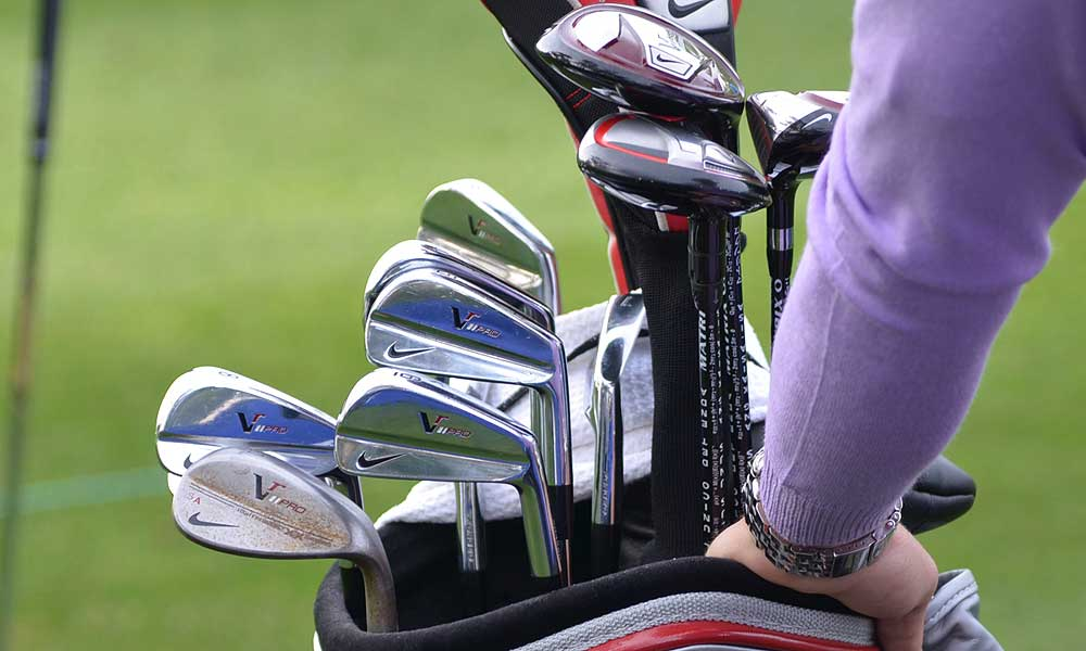 Steve Ames's bag at Torrey Pines is filled with Nike gear, including a set of VR Pro Blade irons.