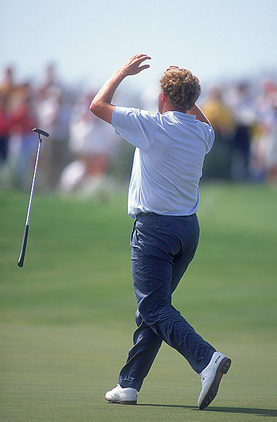 Scotland's Colin Montgomerie (above) benefited from a historic collapse by Mark Calcavecchia, who was 5 up at the turn and 4 up with four to play. After losing the 15th hole with a triple bogey and the 16th with a bogey, Calcavecchia skulled a tee shot that hit the water halfway to the 17th green, and then blew a two-foot putt to give Montgomerie the hole with a five. Calcavecchia bogeyed the final hole as well, Montgomerie parred, and the Europeans got a half.