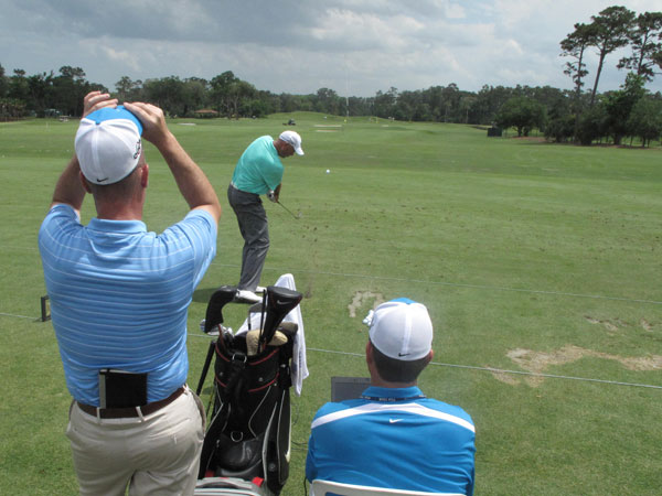 tested equipment on the range with the help of Nike reps and a launch monitor.