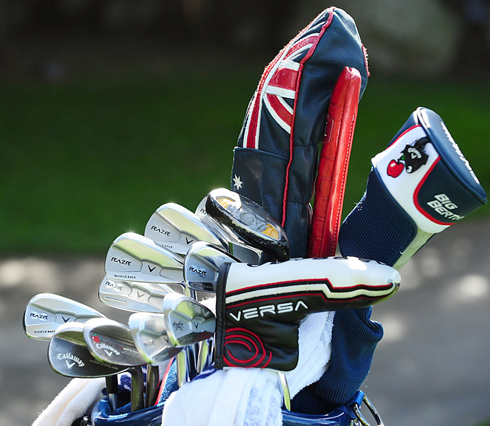 "Stuart Appleby has his ""Apple Bee"" logo stamped onto his Callaway Mack Daddy 2 wedges."